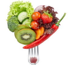 Fruits and vegetables on a fork