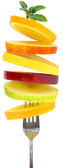Fruit slices on a fork