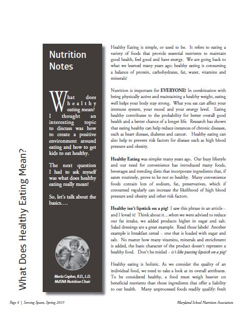 Spring 2019 Nutrition Article