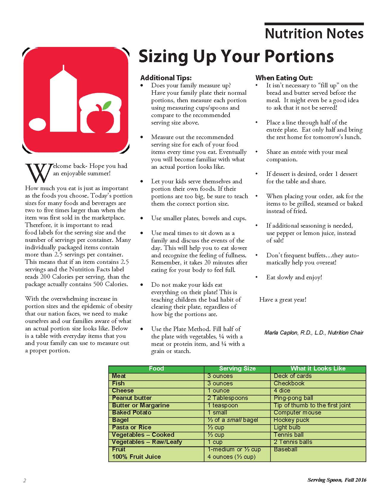Sizing Up Your Portions Article