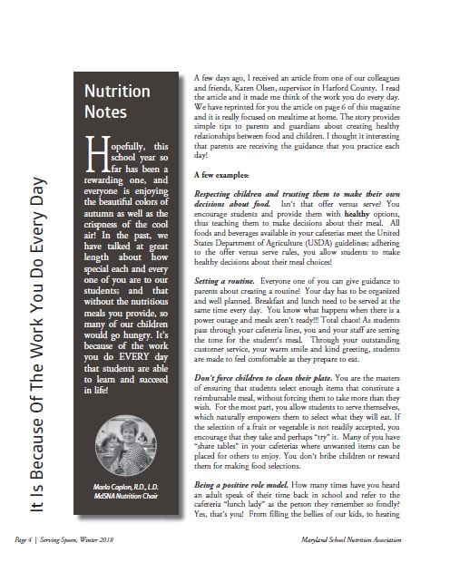 Winter 2018 Nutrition Article